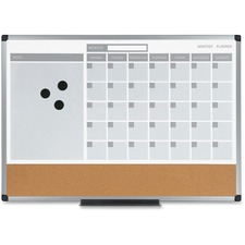 """MasterVision 3-in-1 Combo Monthly Calendar Board - Monthly - 4 Month - Silver, Gray - Aluminum, Cork, Lacquered Steel - 18"""" Height x 24"""" Width - Dry Erase Surface, Lightweight, Notes Area, Reference Calendar - 1 Each"""