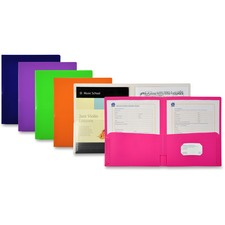 LIO91100ASBX - Lion FUN-COLOR 2-Pocket Plastic Folders, Assorted, 48 Each/box