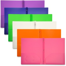 LIO92310ASBX - Lion 2-Pocket Plastic Folders with Fasteners, Assorted, 48ea/box