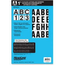 "Headline ID & Specialty Labels - 46, 188 (Number, Letter) Shape - Self-adhesive - Permanent Adhesive, Water Proof - 1"" (25.4 mm) Height - Black, White - Vinyl - 1 Pack"