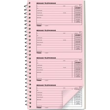 "Blueline 400 Messages (10""3/4 x 5""3/4), French - Spiral BoundCarbonless Copy - 5 3/4"" x 10 3/4"" Sheet Size - Pink, White - White Cover"