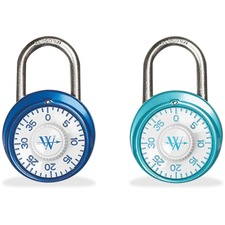 Westcott Combination Lock - Rust Resistant - Hardened Steel Shackle, Chrome Plated Cover, Steel Case - Assorted - 1 Each