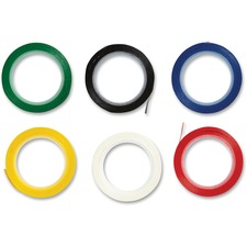 """Westcott See-through Assorted Drafting and Artist Tape - 2.2 ft (0.7 m) Length x 0.13"""" (3.2 mm) Width - Vinyl - Permanent Adhesive Backing - 6 / Pack - Black, White, Red, Blue, Green, Yellow"""