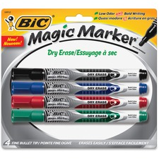 BIC Great Erase Liquid Ink Dry Erase Markers - Fine Marker Point - Bullet Marker Point Style - Black, Blue, Red, Green - 4 / Pack