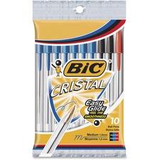 BIC Classic Cristal Ballpoint Pens - Medium Pen Point - 1 mm Pen Point Size - Assorted - Clear Barrel - Brass Tip - 10 / Pack