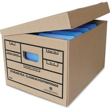 Crownhill Attached Lid Storage Box - Media Size Supported: Legal, Letter - Flip Top Closure - Stackable - For File, Folder - Recycled - 25 / Pack