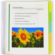"""C-Line Letter Presentation Folder - 8 1/2"""" x 11"""" - Spiral Fastener - 10 Internal Pocket(s) - Assorted Position Tab Position - Clear - 1 Each"""