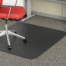 "Deflecto Black Rectangular Smooth Edge Chairmats - Office, Breakroom - 60"" (1524 mm) Length x 46"" (1168.40 mm) Width - Rectangle - Vinyl - Black"