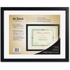 "First Base Black Floating Certificate Frame - 15"" x 12"" Frame Size - Holds 11"" x 8.50"" Insert - Rectangle - Wall Mountable - Landscape, Portrait - 1 Each - Tuscan Black"