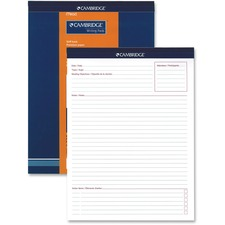 "Hilroy Headstrip Meeting Notes Writing Pad - 70 Sheets - 20 lb Basis Weight - 8 1/2"" x 11 3/4"" - White Paper - Header Strip, Micro Perforated, Easy Tear - Recycled - 1Each"