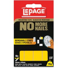 "LePage No More Nails Removable Tape Permanent Strips - 0.79"" (20 mm) Width x 1.57"" (40 mm) Length - Removable - 10 / Pack - Yellow"