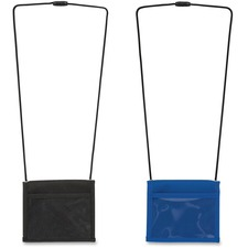 Merangue Deluxe ID Badge Holders - Polyester, Polyethylene - 1 Each - Blue, Black