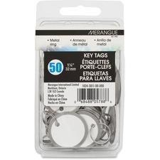 """Merangue Metal Rim Key Tags - 1.25"""" (31.75 mm) Diameter - 50 / Pack - Metal"""
