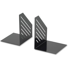 "Merangue Bookend - 6.3"" Height x 5.1"" Width x 4.1"" Depth - Shelf - Black - Steel - 2 / Pair"