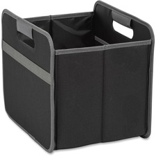 "Merangue Fully Collapsible Storage Bins - Internal Dimensions: 12"" (304.80 mm) Width x 9.50"" (241.30 mm) Depth x 10.50"" (266.70 mm) Height - External Dimensions: 12.8"" Width x 10.3"" Depth x 11.5"" Height - Nylon, Vinyl - Black - For File, Folder - 1 Each"