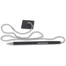 "Merangue 24"" Stay-Put Security Pen with Chain - Refillable - Black - Black Rubber Barrel - 1 Each"