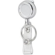 Merangue Chrome-finish Metal Badge Reel - Plastic, Metal - 1 Each - Silver, Chrome