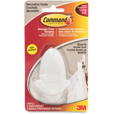 Command Adhesive Double Hanging Hook - 1.36 kg Capacity - White - 1 Pack