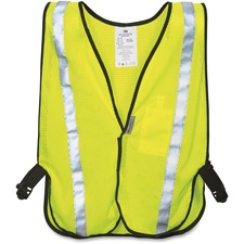 3M Reflective Yellow Safety Vest - Reflective, Lightweight, Adjustable Strap, Pocket - Cloth, Polyester, Fabric - Yellow - 1 Each