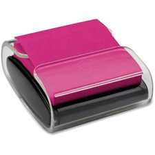 """Post-it® Colour Super Sticky Pop-Up Notes Dispenser - 3"""" (76.20 mm) x 3"""" (76.20 mm) - 45 Sheet Note Capacity - Black, Clear"""