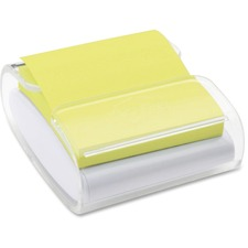 "Post-it® Colour Super Sticky Pop-Up Notes Dispenser - 3"" (76.20 mm) x 3"" (76.20 mm) - 45 Sheet Note Capacity - White, Clear"