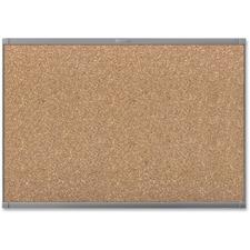 "Quartet Prestige 2 Graphite Frame Magnetic Cork Board - 48"" (1219.20 mm) Height x 72"" (1828.80 mm) Width - Cork Surface - Magnetic - Graphite Frame - 1 Each"