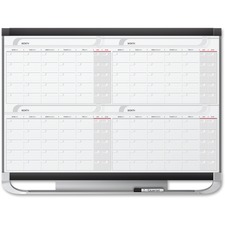 """Quartet Prestige Total-erase Four-month Calendar - Monthly, Daily - 4 Month - Graphite - 36"""" Height x 48"""" Width - Dry Erase Surface, Notes Area, Accessory Tray, Hanger - 1 Each"""
