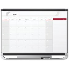 Quartet Prestige Monthly Total Erase Calendar - Monthly - Wall Mountable - Graphite - Durable, Dry Erase Surface, Stain Proof, Accessory Tray, Hanger