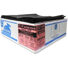 """Ralston Extra-Strong Black Trash Bags - 42"""" (1066.80 mm) Width x 48"""" (1219.20 mm) Length x 1.20 mil (30 Micron) Thickness - Black - Resin - 75/Carton - Industrial, Garbage"""
