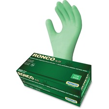 RONCO ALOE Synthetic Disposable Gloves - Large Size - Green - Disposable, Powder-free, Durable, Flexible, Beaded Cuff, Ambidextrous, Latex-free, Comfortable - For Automotive, Dental, Environmental Service, Food, Beverage, Cosmetology, Electronic Repair/Maintenance, Manufacturing, Industrial, Printing, Fish Processing, ... - 100 / Box - 5 mil (0.13 mm) Thickness