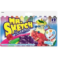 Mr. Sketch Scented Watercolour Markers - Bevel Marker Point Style - 12 / Set