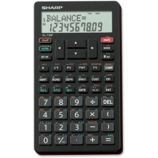 "Sharp Calculators EL738 Financial Calculator - Hard Shell Cover, Sign Change, Date, Slide-on Hard Case - 2 Line(s) - 12 Digits - LCD - Battery Powered - 3"" x 5.7"" x 0.4"" - Black - 1 Each"