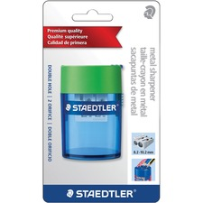 Staedtler Double-hole Tub Pencil Sharpener - 2 Hole(s) - Blue, Red - 1 Each
