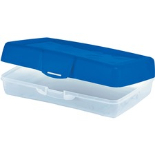 "Storex Carrying Case School Stationery - Blue - Water Resistant - Plastic, Poly - 2.20"" (55.88 mm) Height x 8.66"" (219.96 mm) Width x 5.63"" (142.88 mm) Depth"