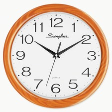 "Swingline 12"" Woodgrain Round Wall Clock - Analog - Quartz"