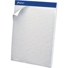 "TOPS Quad-grid Perforated Pad - 50 Sheets - 8 1/2"" x 11 3/4"" - White Paper - Micro Perforated, Rigid, Chipboard Backing, Easy Tear - 1Each"