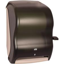 "Tork Quickview Lever Towel Dispenser - Roll Dispenser - 15.50"" (393.70 mm) Height x 12.90"" (327.66 mm) Width x 9.30"" (236.22 mm) Depth - Plastic - Smoke - Translucent, Transfer Paddle, Impact Resistant, Lockable, Break Resistant"