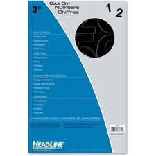 "Headline Stick-on Vinyl Numbers - Self-adhesive - Water Proof, Permanent Adhesive - 3"" (76.2 mm) Length - Black - Vinyl - 1 Each"