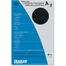 "Headline Stick on Letters and Numbers - Self-adhesive - Water Proof, Permanent Adhesive - 0.50"" (12.7 mm) Length - Black - Vinyl - 1 Each"
