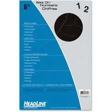 """Headline Stick on Letters and Numbers - Self-adhesive - Water Proof, Permanent Adhesive - 6"""" (152.4 mm) Length - Black - Vinyl - 1 Each"""