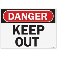"""U.S. Stamp & Sign OSHA Danger Keep Out Safety Sign - 1 Each - Danger Keep Out Print/Message - 14"""" (355.60 mm) Width x 10"""" (254 mm) Height - Rectangular Shape - UV Resistant, Abrasion Resistant, Moisture Resistant, Chemical Resistant - Styrene - Black, White, Red"""