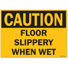 """U.S. Stamp & Sign OSHA Slippery When Wet Sign - 1 Each - Caution Slippery When Wet Print/Message - 14"""" (355.60 mm) Width x 10"""" (254 mm) Height - Rectangular Shape - UV Resistant, Abrasion Resistant, Moisture Resistant, Chemical Resistant - Styrene - Black, Yellow"""
