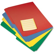 "Filemode 1/2 Tab Cut Letter Top Tab File Folder - 8 1/2"" x 11"" - Top Tab Location - Polypropylene - Blue, Red, Green, Yellow - 12 / Pack"