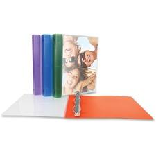 "Wilson Jones Custom Cover Round Ring Poly Binder - 1"" Binder Capacity - Letter - 8 1/2"" x 11"" Sheet Size - 175 Sheet Capacity - Ring Fastener(s) - Polypropylene - Purple, Green, Blue, Red - Durable, Flexible, Non-stick - 1 Each"