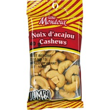Mondoux Salted Jumbo Cashew Nuts - Salty - 1 Serving Bag - 40 g - 1 Pack
