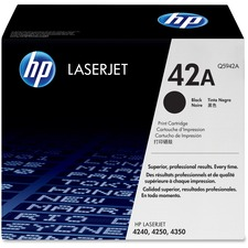 HP 42A (Q5942A) Original Toner Cartridge - Single Pack - Laser - Standard Yield - 10000 Pages - Black - 1 Each