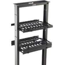 "B-Line Rack-Mounted Double Sided Horizontal Manager W/ Cover, 19"" Width, 1U, Flat Black"