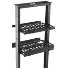 "B-Line Rack-Mounted Double Sided Horizontal Manager W/ Cover, 19"" Width, 2U, Flat Black"