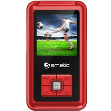 "Ematic EM208VID 8 GB Red Flash Portable Media Player - Photo Viewer, Video Player, Audio Player, FM Tuner, Voice Recorder, e-Book, FM Recorder - 1.5"" - USB - Headphone"