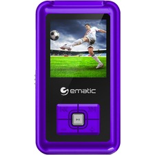 "Ematic EM208VID 8 GB Purple Flash Portable Media Player - Photo Viewer, Video Player, Audio Player, FM Tuner, Voice Recorder, e-Book, FM Recorder - 1.5"" - USB - Headphone"